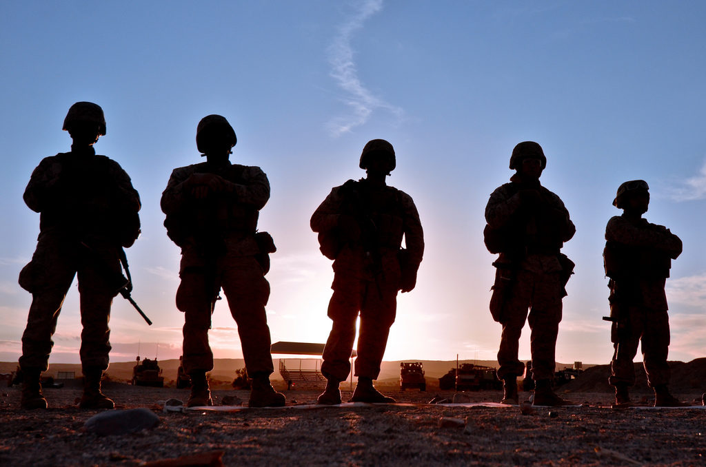 U.S. Marines (USMC) silhouetted against the sunset on June 1, 2012.