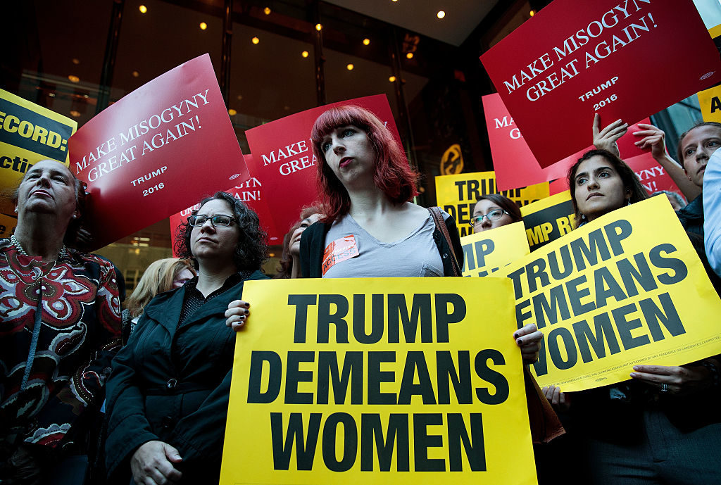 Activists rally during a protest against Donald Trump in front of Trump Tower in October.
