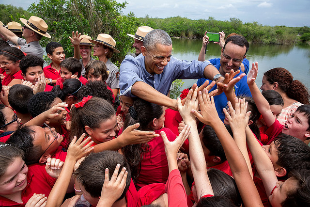 President Barack Obama greets a group of students at Everglades National Park on Earth Day, 2015.