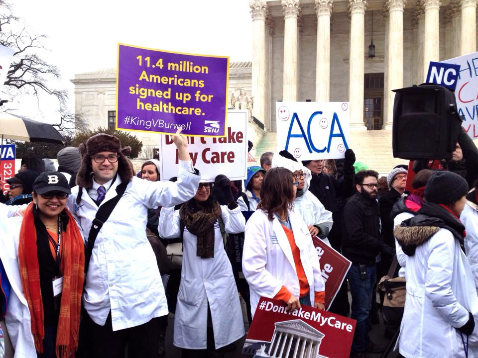 Rally in Support of Obamacare outside the US Supreme Court during King vs Burwell hearings. March 2014.