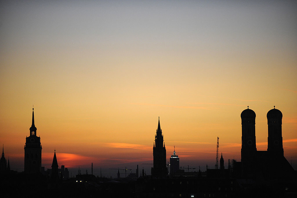The sun sets on Munich, Germany.