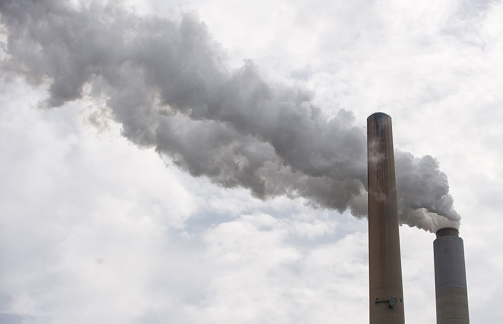 Smoke rises from the stacks at American Electric Power's Mountaineer coal power plant in New Haven, West Virginia, in 2009.
