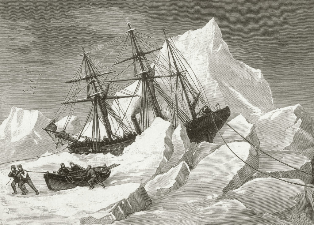 H.M.S. Intrepid, under the command of Irish explorer Sir Francis Leopold McClintock (1819 - 1907), is trapped in pack ice in Baffin Bay, circa 1853. McClintock is on his first mission to find the 1845 expedition of Sir John Franklin, which disappeared during a search for the Northwest Passage. This comes from a sketch by Commander May R.N.
