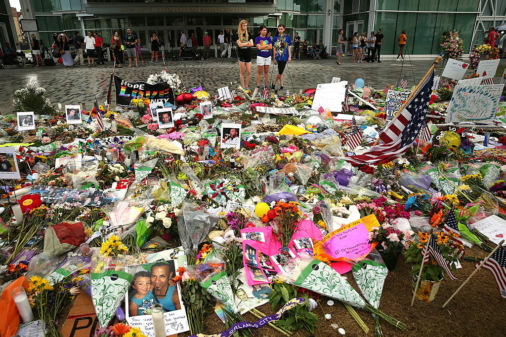 A memorial near the Pulse nightclub in Orlando, Florida, after a mass shooting committed by Omar Mir Seddique Mateen.