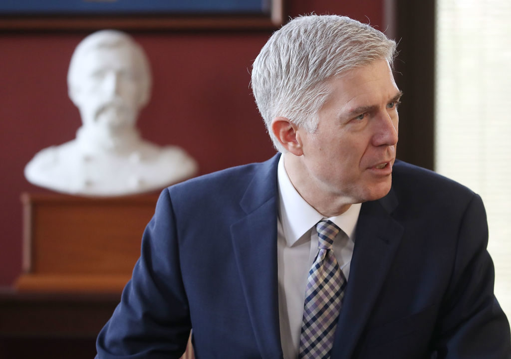 Supreme Court nominee Judge Neil Gorsuch is seen here in a meeting with Sen. Angus King (I-ME) in his office on Capitol Hill March 1.