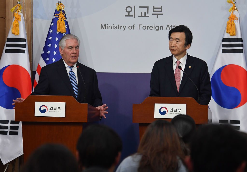 U.S. Secretary of State Rex Tillerson speaks with South Korean Foreign Minister Yun Byung-se during a press conference on March 17 in Seoul, South Korea.