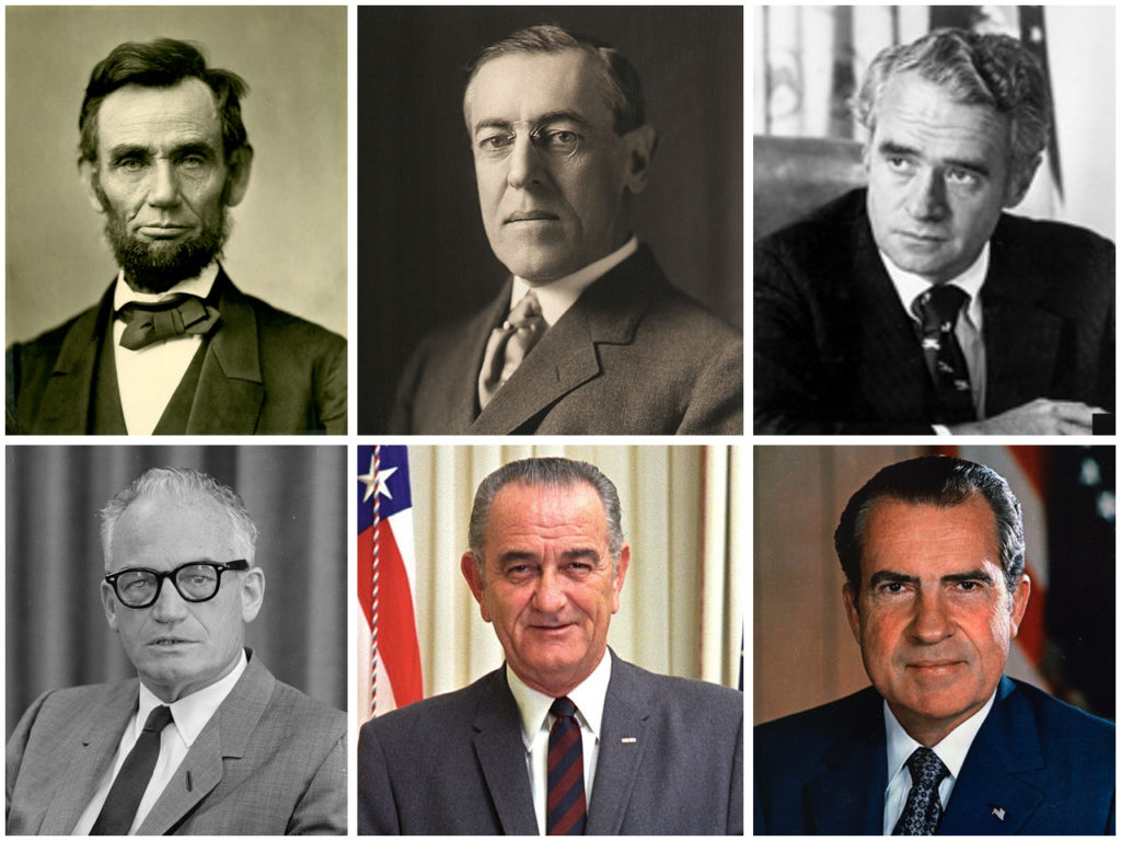 A number of presidents, candidates and politicians — including (clockwise from top left) Abraham Lincoln, Woodrow Wilson, Thomas Eagleton, Richard Nixon, Lyndon Johnson and Barry Goldwater — have been the subject of speculation about their mental health or faculties.