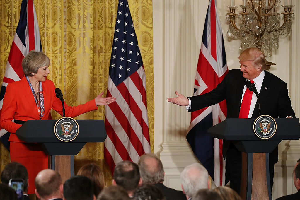 President Donald Trump  and British Prime Minister Theresa May hold in a joint press conference at the East Room of the White House.