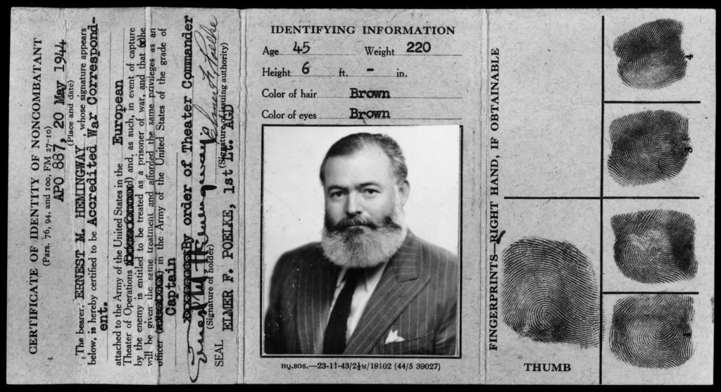 The pinnacle of Hemingway's wartime career as a spy came when he was an accredited correspondent in France after D-Day in 1944.  He did some reporting for Collier's, but he also roamed the battlefield to collect tactical information and produce intelligence that helped Allied forces liberate his beloved Paris from the Germans.
