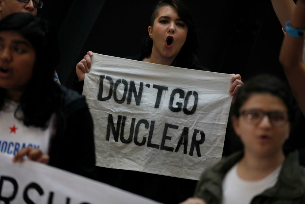 """A protest against Judge Neil Gorsuch's nomination to the Supreme Court. Senate Majority Leader Mitch McConnell has indicated he will invoke the """"nuclear option"""" allowing Gorsuch to be confirmed without the traditional 60 votes."""