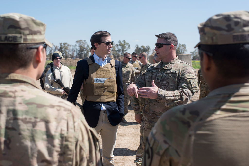 In this handout provided by the Department of Defense (DoD), Jared Kushner, senior adviser to President Donald Trump, meets with service members at a forward operating base near Qayyarah West in Iraq.