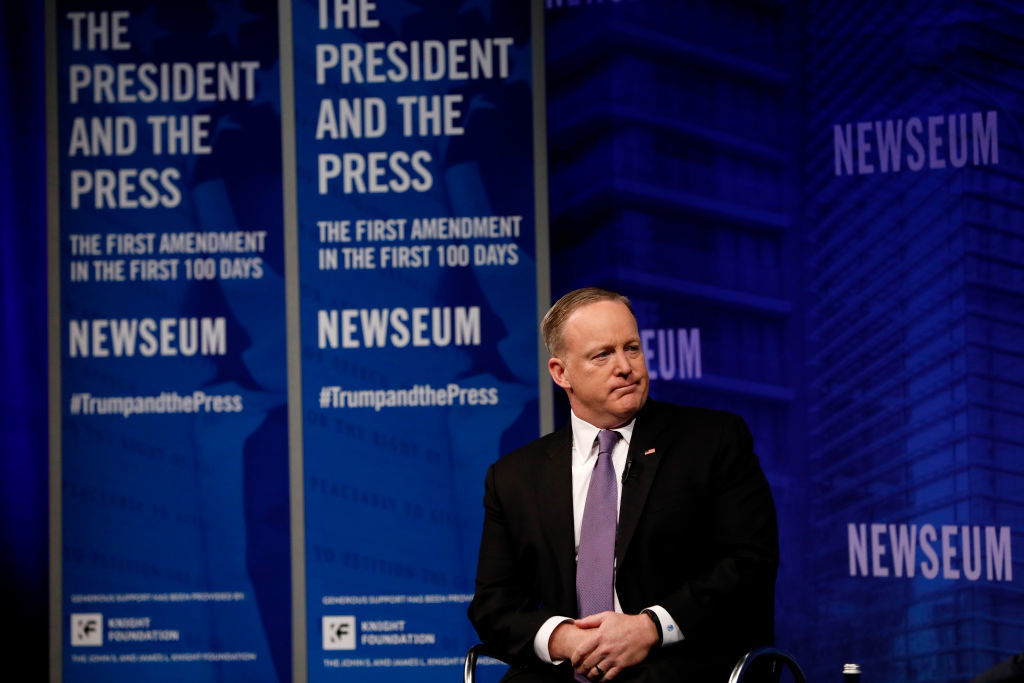 """White House Press Secretary Sean Spicer speaks at the Newseum during its """"The President and The Press, The First Amendment in the First 100 Days"""" event April 12, 2017, in Washington. Spicer recently drew fire for his comments on Syrian leader Bashar al-Assad and Adolf Hitler."""