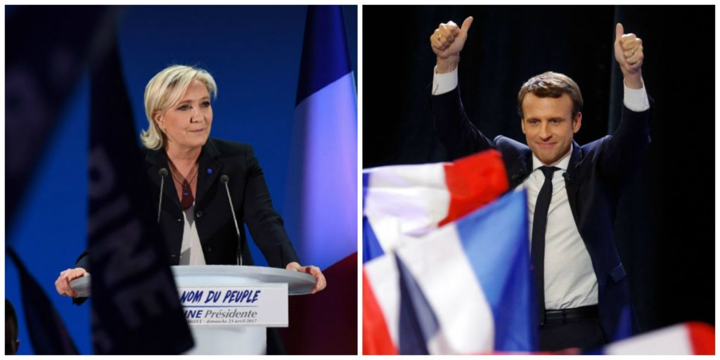 The two candidates in Sunday's French election for the runoff for president: Marine Le Pen, pictured left, and Emmanuel Macron, pictured right.
