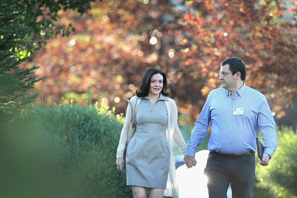 Sheryl Sandberg's new book (co-authored with psychologist Adam Grant) is about her struggle with getting her life back on track after the sudden death of her husband David Goldberg two years ago. Here they are, pictured in 2014.
