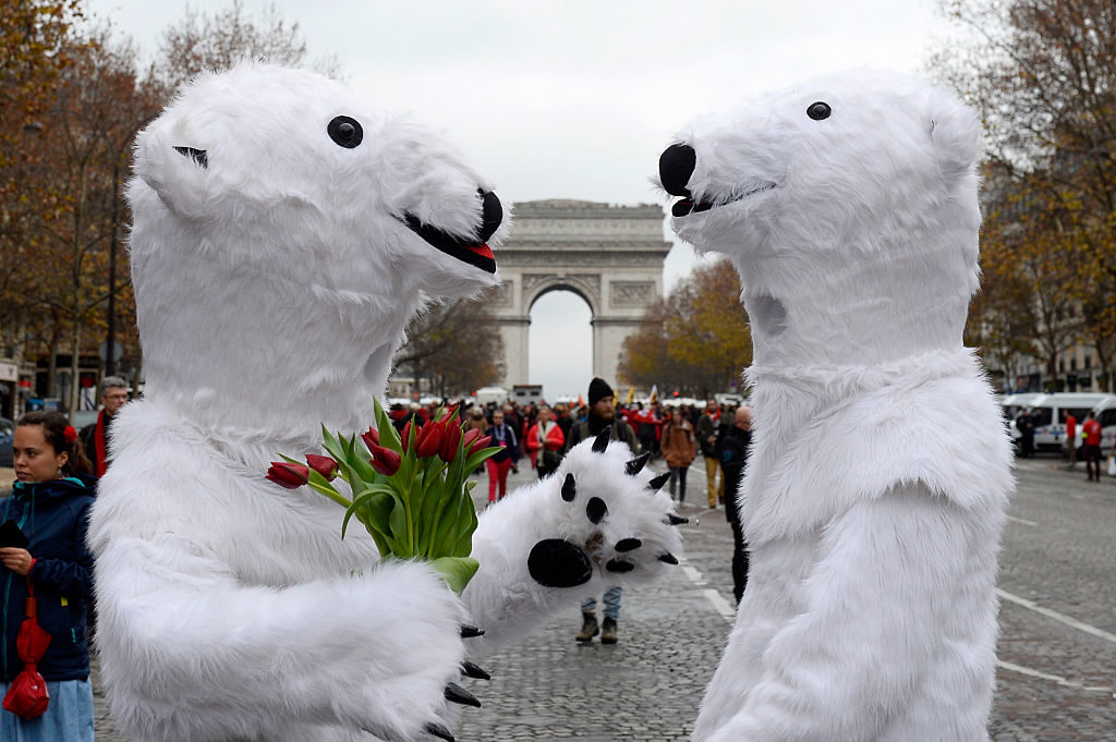 Activists dressed as polar bears in Paris in December, 2015, as the proposed 195-nation accord to curb emissions of the heat-trapping gases that threaten to wreak havoc on Earth's climate system was about to be presented at the United Nations conference on climate change.