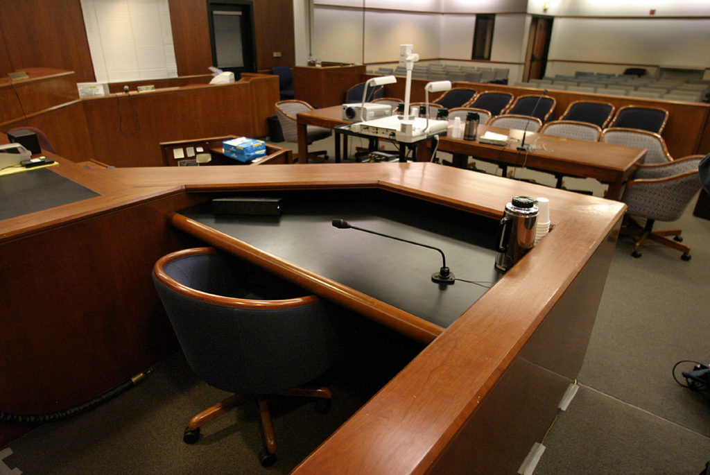An empty courtroom at the Superior Court of California courthouse