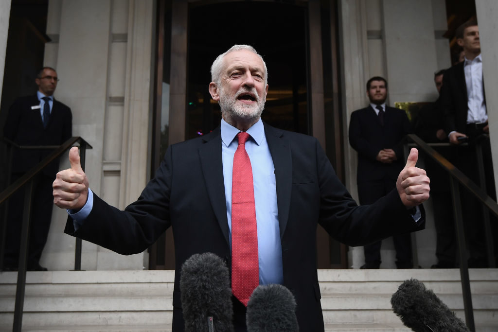 U.K. Labour Leader Jeremy Corbyn speaks to the media following the Labour Party's Clause V meeting in London. The party's Manifesto for the 2017 General Election was  leaked to the press ahead of the meeting to ratify it.