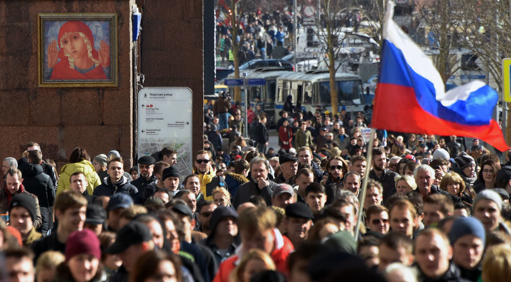 Protesters in Moscow at an unauthorized anti-corruption rally in March called for by opposition leader Alexei Navalny. Thousands of Russians have staged rallies across the country to protest corruption.