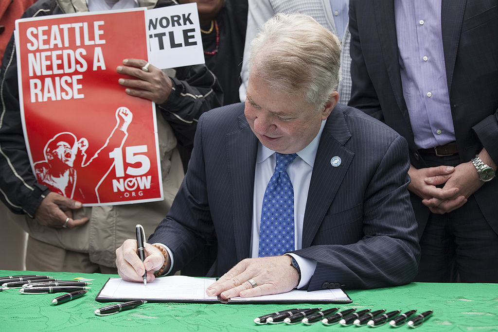 In 2014, Seattle Mayor Ed Murray signed a bill that raised the city's minimum wage to $15 an hour.  A new study has raised questions over how successful that increase has been.