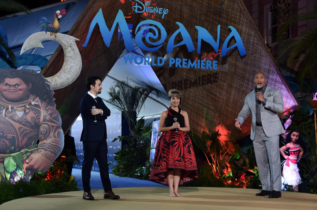 """Songwriter Lin-Manuel Miranda, actress Auli'i Cravalho and actor Dwayne Johnson speak onstage at The World Premiere of Disney's """"MOANA"""" at the El Capitan Theatre on November, 2016 in Hollywood, CA."""