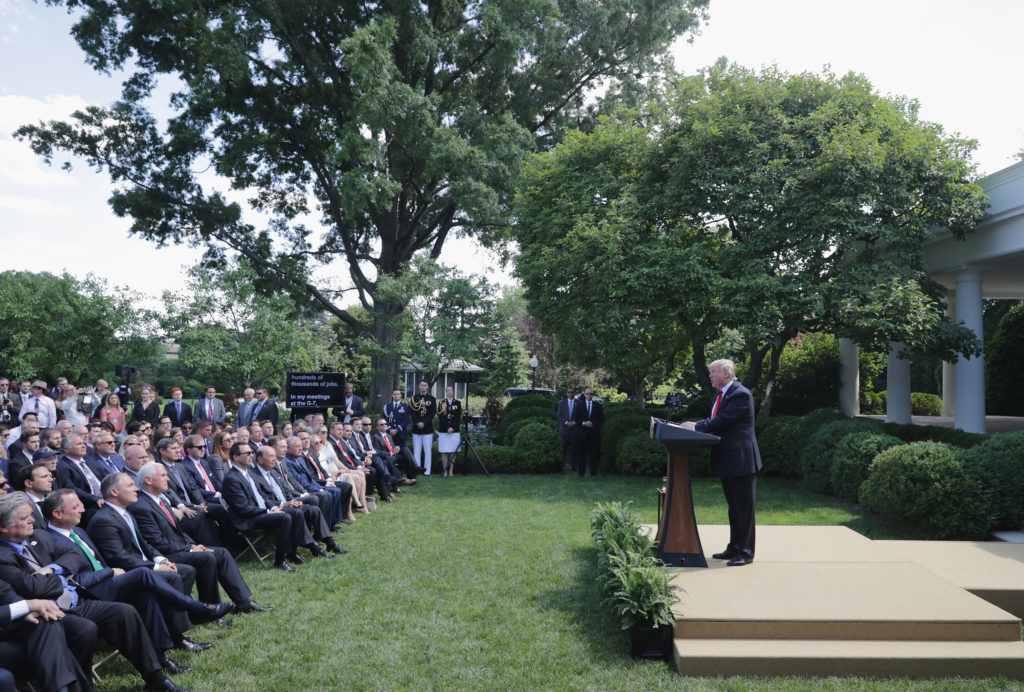 President Donald Trump announces his decision regarding the United States' participation in the Paris climate agreement in the Rose Garden at the White House June 1, 2017 in Washington, DC.
