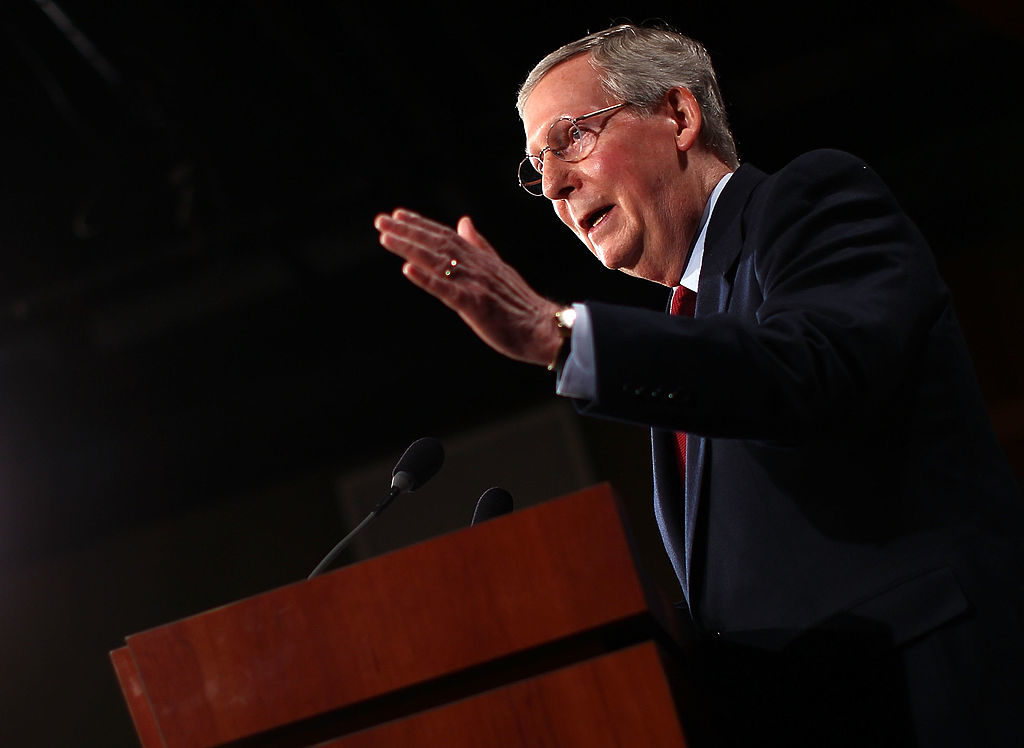 WASHINGTON - Senate Minority Leader Mitch McConnell (R-KY) delivers the Republican response to President Barack Obama's address on health care reform at the U.S. Capitol March 3, 2010.