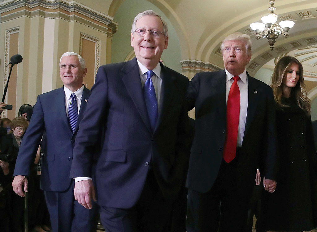 The relationship between Senate Majority Leader Mitch McConnell and President Donald Trump (seen here in friendlier times —November, 2016), soured this week over disputes about the failure of legislation repealing the Affordable Care Act.