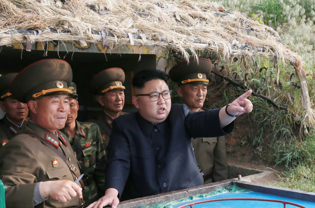 This undated picture released from North Korea's official Korean Central News Agency (KCNA) in 2017 shows North Korean leader Kim Jong-Un inspecting a defense detachment.