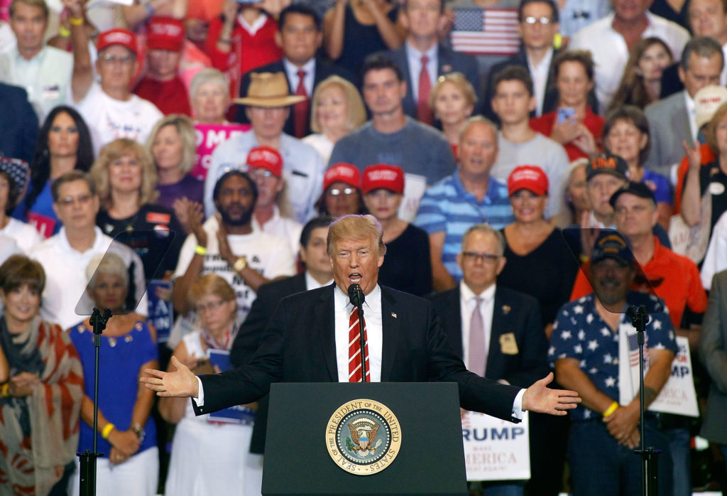 U.S. President Donald Trump speaks to  crowd of supporters at the Phoenix Convention Center during a rally on August 22, 2017 in Phoenix, Arizona.