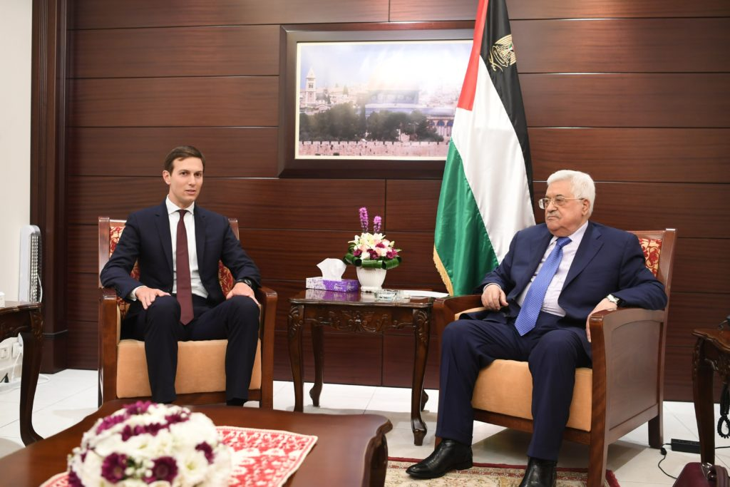 In this handout image provided by the Palestinian Press Office (PPO), Palestinian President Mahmoud Abbas (R) meets with Jared Kushner (L), White House Advisor and son-in-law of U.S. President Donald Trump, on August 24, 2017 in Ramallah, West Bank.