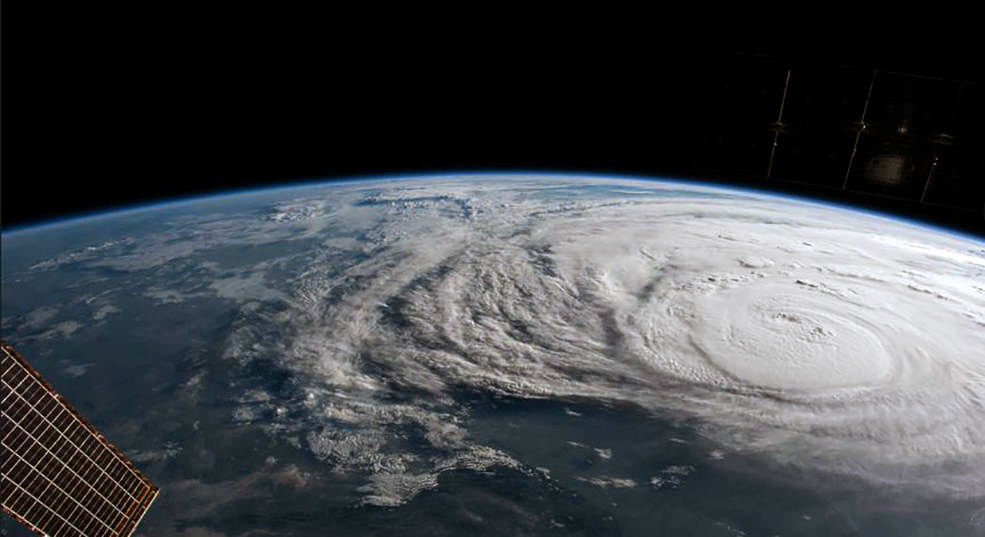 In this NASA image, Hurricane Harvey is photographed from the International Space Station as it intensified on its way toward the Texas coast on August 25, 2017.