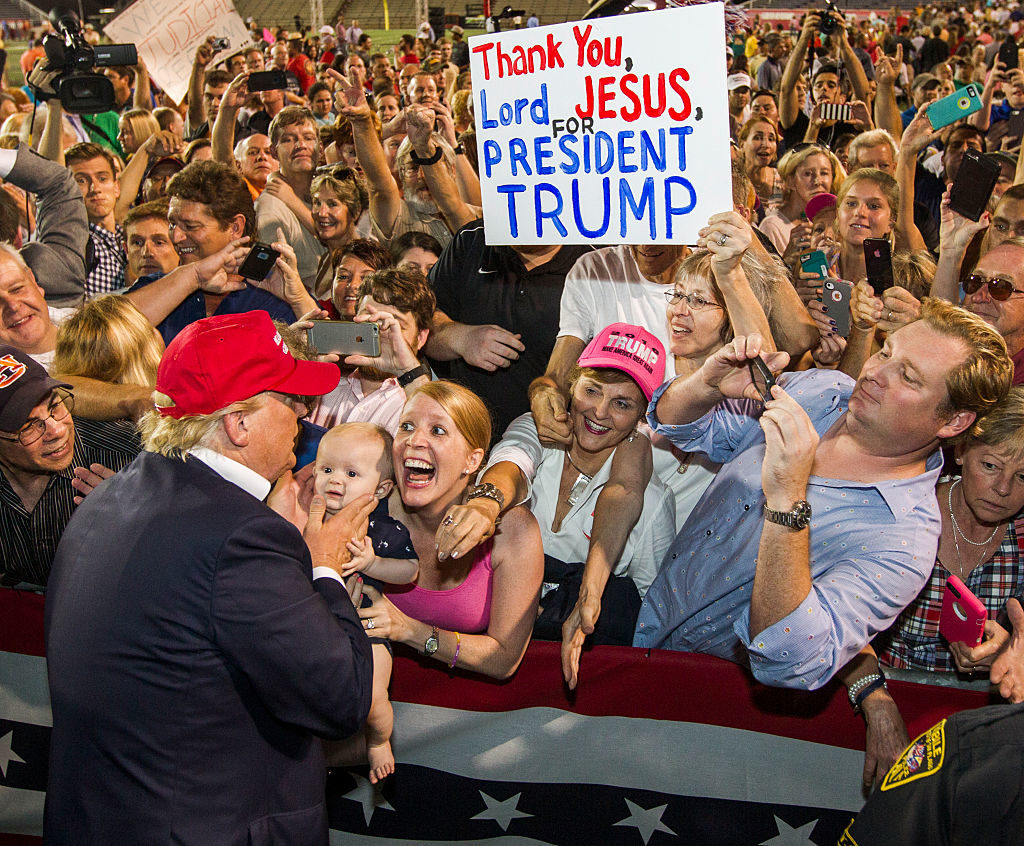 President Donald Trump, seen here campaigning in Mobile, won nearly 63 percent of the vote in Alabama in 2016. Now, his choice in the state's Senate race is facing a tough path.