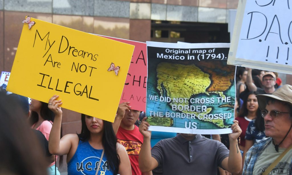 A map of Mexico as it was in 1794 is displayed as young immigrants and their supporters rally in support of Deferred Action for Childhood Arrivals (DACA) in Los Angeles, California on September 1, 2017.