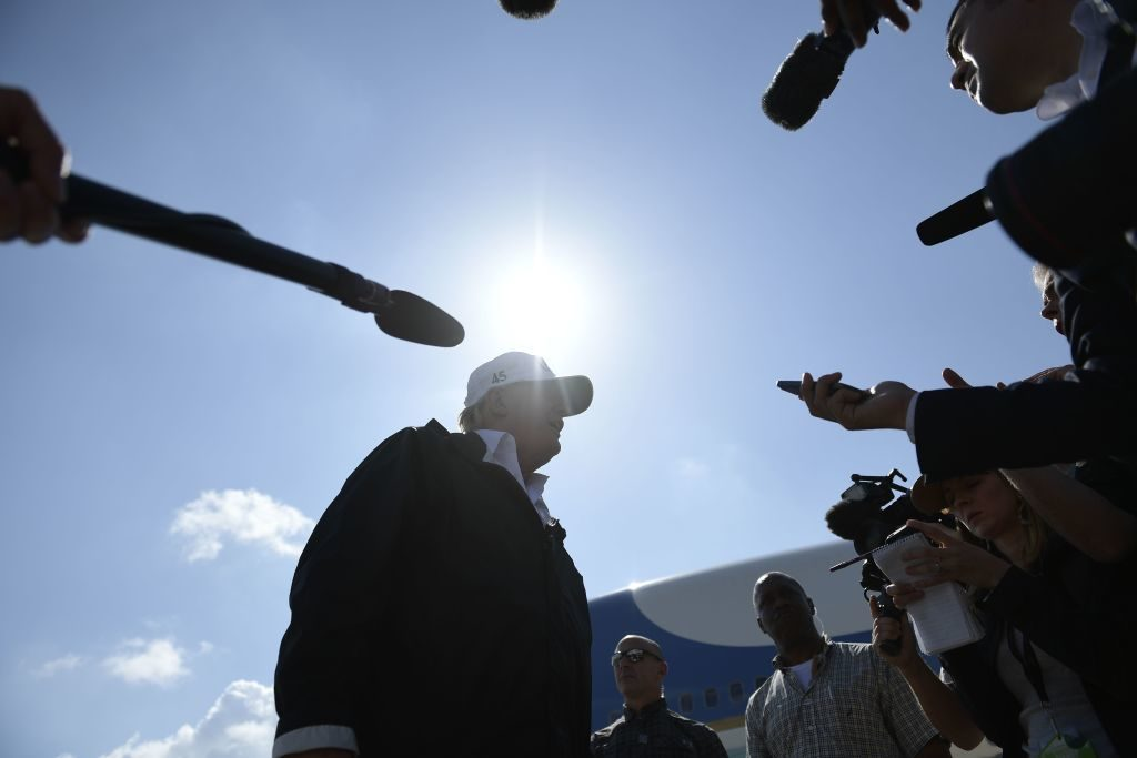 President Donald Trump speaks to the press in Fort Myers, Florida, on September 14.