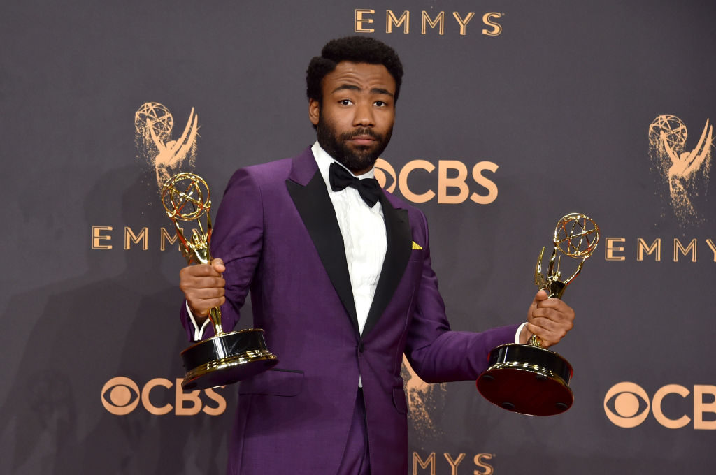 Actor Donald Glover, winner of the award for Outstanding Lead Actor in a Comedy Series for 'Atlanta,' poses in the press room during the Emmy Awards.