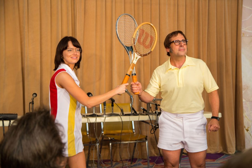 "Emma Stone and Steve Carell star in ""Battle of the Sexes."""