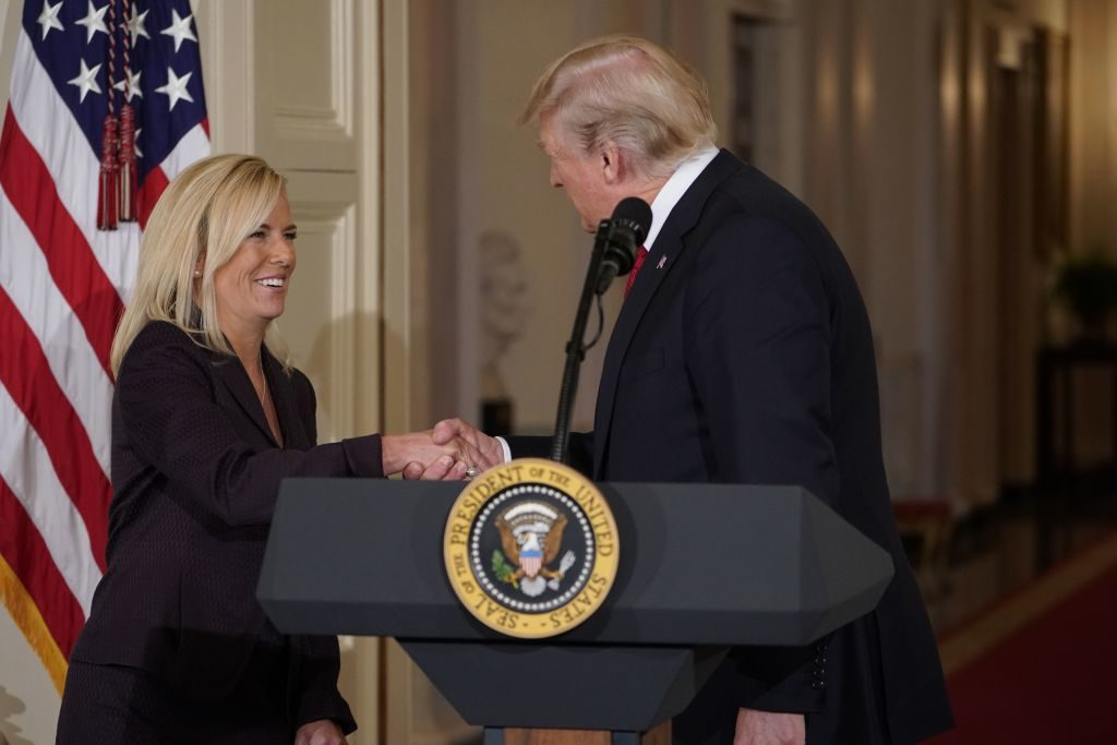 President Donald Trump greets Kirstjen Nielsen, his nominee for Secretary of Homeland Security, at the White House. Nielsen is a senior White House official with a background in infrastructure and cybersecurity issues.
