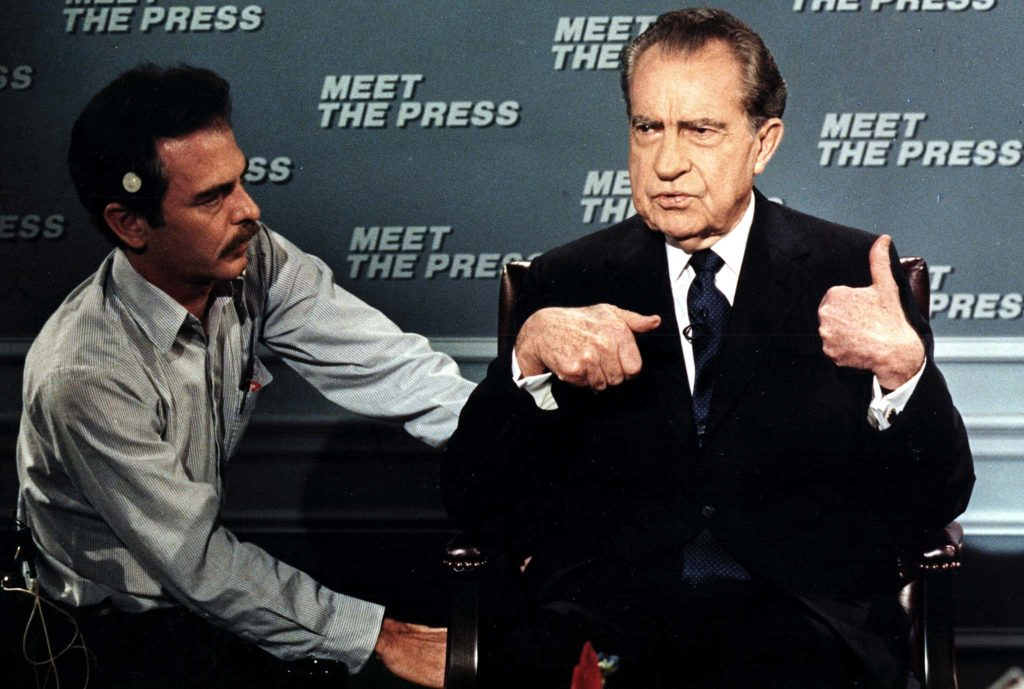 """Former President Richard Nixon prepares for a taping of the """"Meet the Press"""" in 1988."""