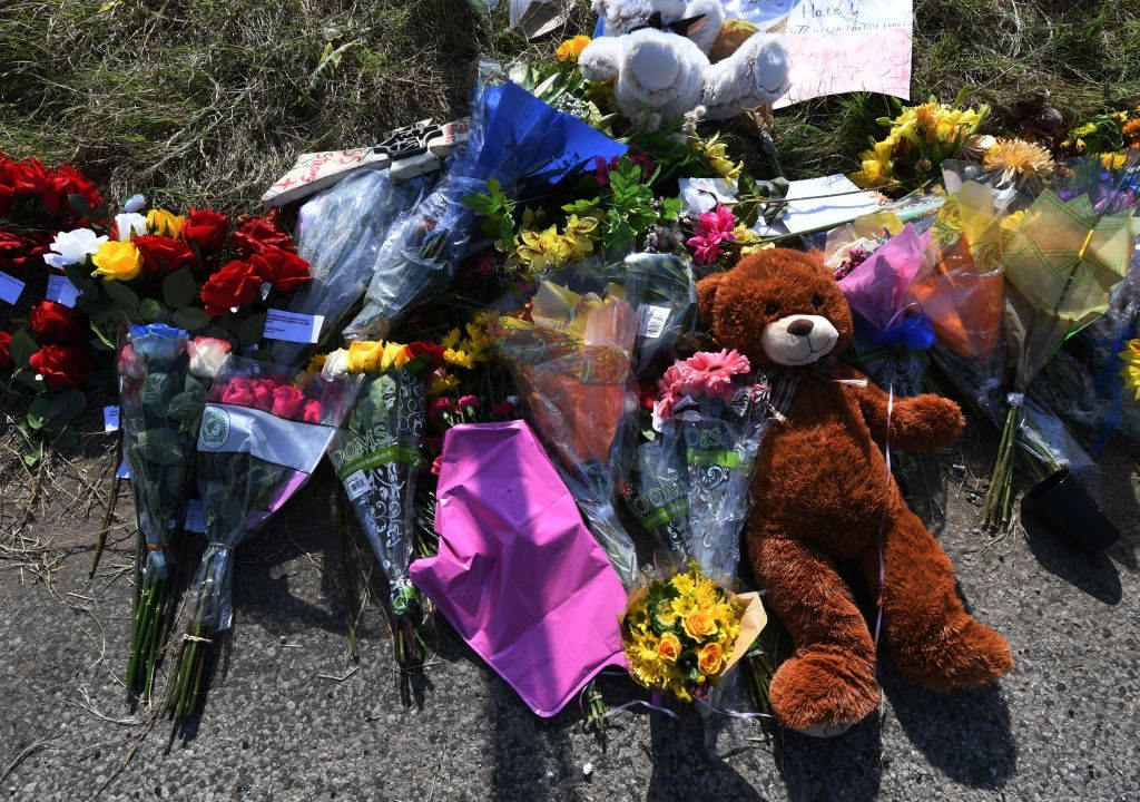 Flowers left outside the First Baptist Church, after a mass shooting that killed 26 people in Sutherland Springs, Texas on November 7. The gunman, it was revealed, had a history of domestic violence.
