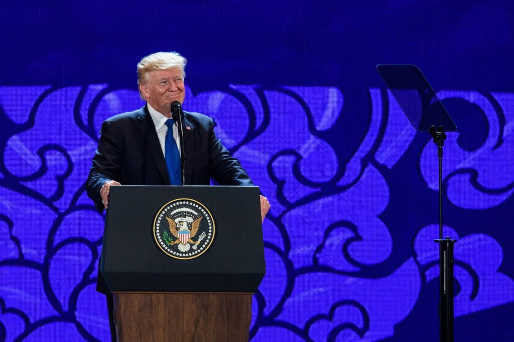 President Donald Trump speaks on the final day of the APEC CEO Summit, part of the broader Asia-Pacific Economic Cooperation (APEC) leaders' summit.