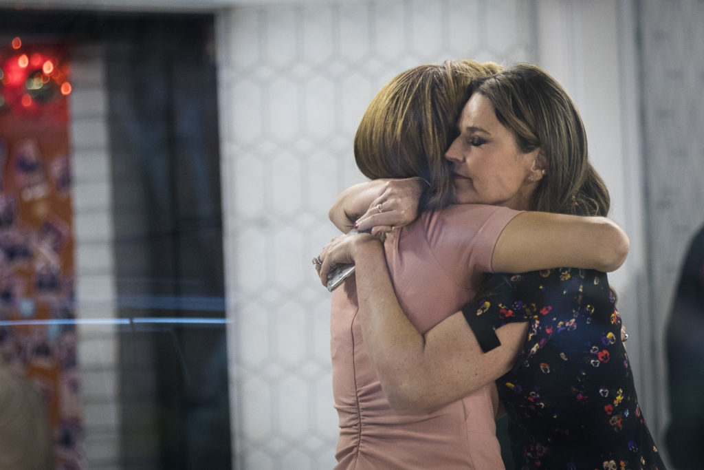 (L to R) Hoda Kotb and Savannah Guthrie embrace at the end of the show on the set of NBC's Today Show, November 29, 2017 in New York City. It was announced on Wednesday morning that long time Today Show host Matt Lauer had been fired for alleged sexual misconduct.
