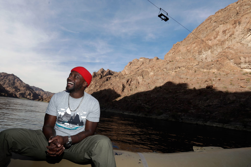 Actor Taye Diggs joins the National Park Foundation on a #FindYourPark/#EncuentraTuParque tour November 21, 2017 in Lake Mead National Recreation Area, Nevada.