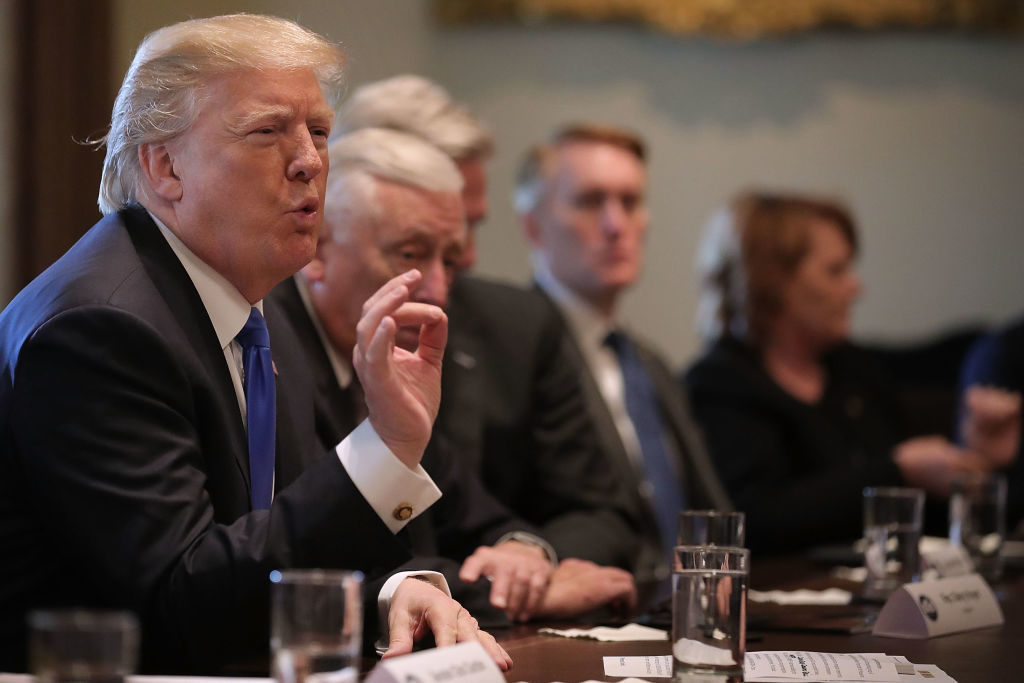 President Donald Trump presides over a meeting about immigration with Republican and Democrat members of Congress in the Cabinet Room at the White House on January 9, 2018.