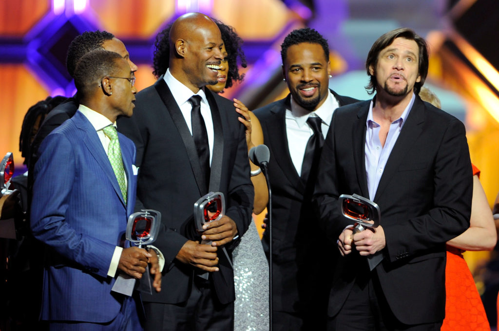 """Actors Tommy Davidson, Keenen Ivory Wayans, Shawn Wayans and Jim Carrey of """"In Living Color"""" speak onstage at the 10th Annual TV Land Awards at the Lexington Avenue Armory on April 14, 2012 in New York City."""