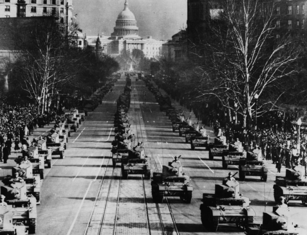 President Donald Trump has requested a military parade in Washington. In this photo, a procession of tanks moves through the city to mark the start of President Franklin D. Roosevelt's third term as President of the United States in 1941.