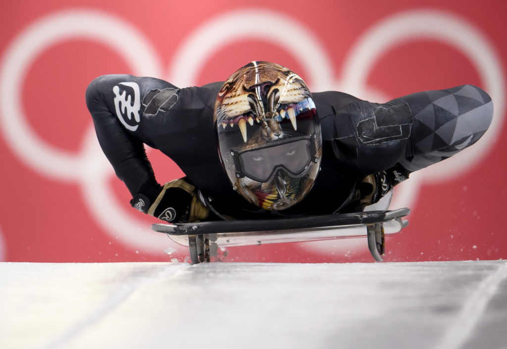 Akwasi Frimpong of Ghana practices during Men's Skeleton training ahead of the PyeongChang 2018 Winter Olympic Games at the Olympic Sliding Centre on February 7, 2018 in Pyeongchang-gun, South Korea.