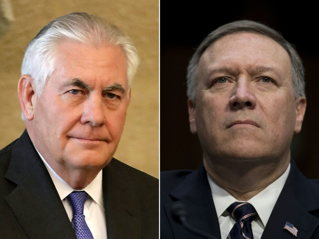 Secretary of State Rex Tillerson is being replaced by CIA Director Mike Pompeo.