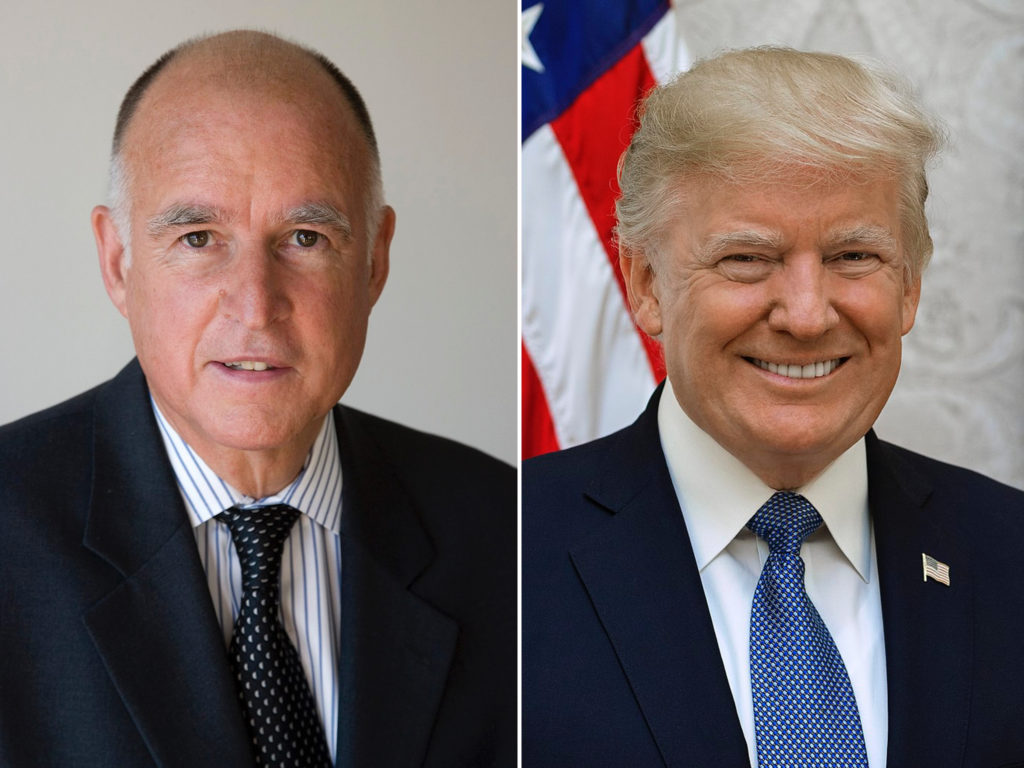 The U.S. Justice Department has filed suit against California Governor Jerry Brown (left) and others.